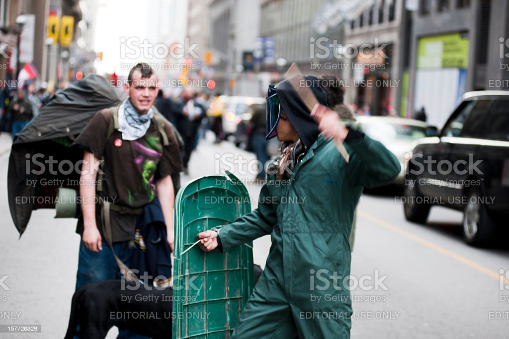 Protesters Pretending to Incite a Riot royalty-free stock photo