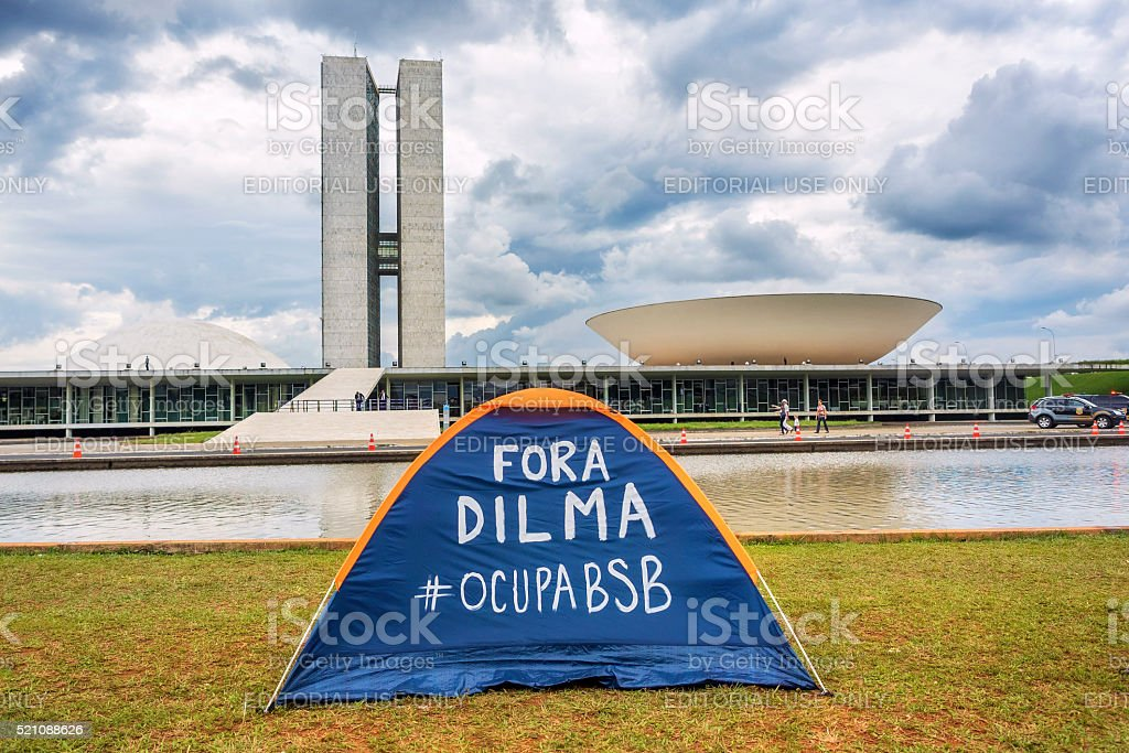 Protester's Tent in Front of National Congress Building, Brasilia, Brazil stock photo