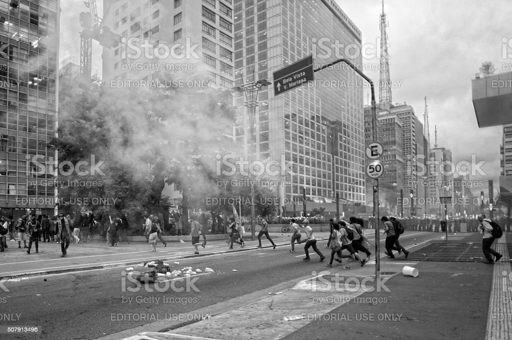 Protesters Under Attack stock photo