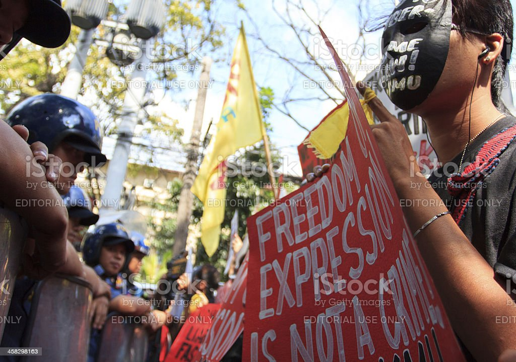 Protesters with mask royalty-free stock photo