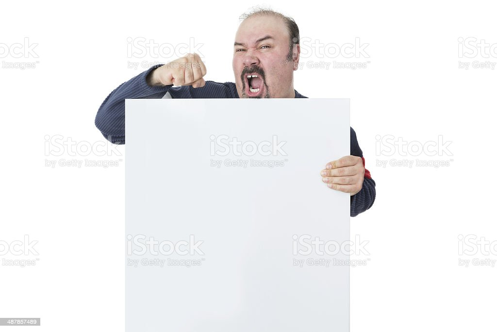 Protesting mature man holding a blank billboard stock photo