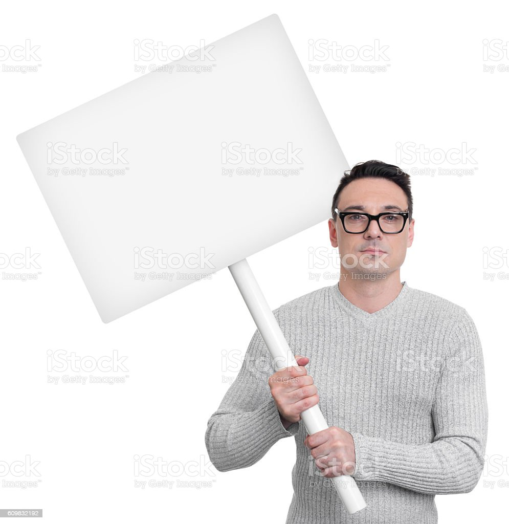Protesting person with picket sign stock photo