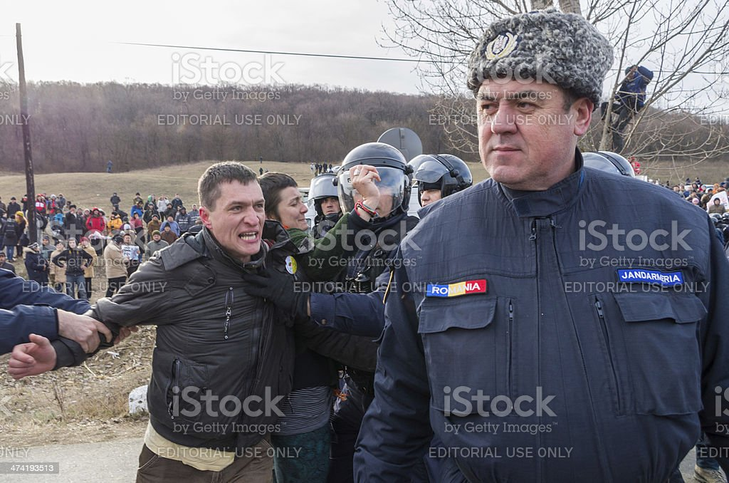 Protestor and Officer stock photo