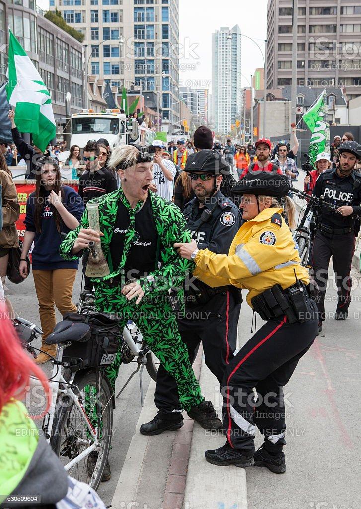 Protestor at the Toronto Marijuana March 2016 stock photo