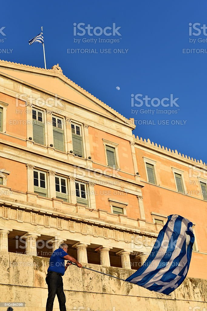 Protestor In front f the Greek Parliament stock photo