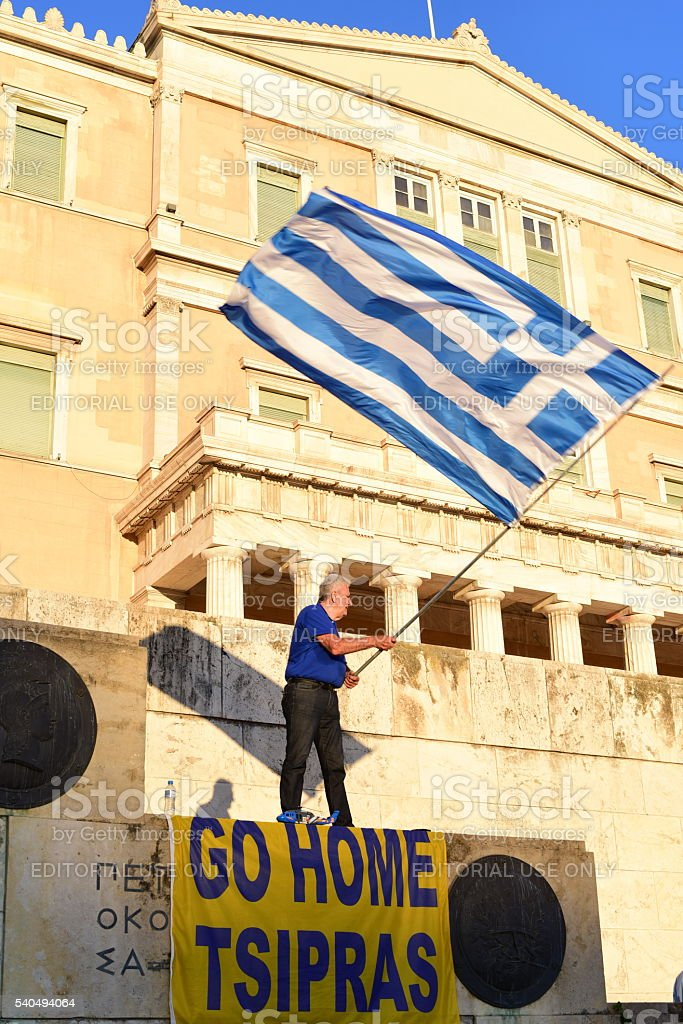 Protestor In front of the Greek Parliament stock photo