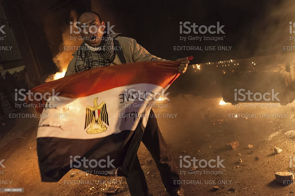 Protestor on Tahrir protest against the military rule in Egypt stock photo