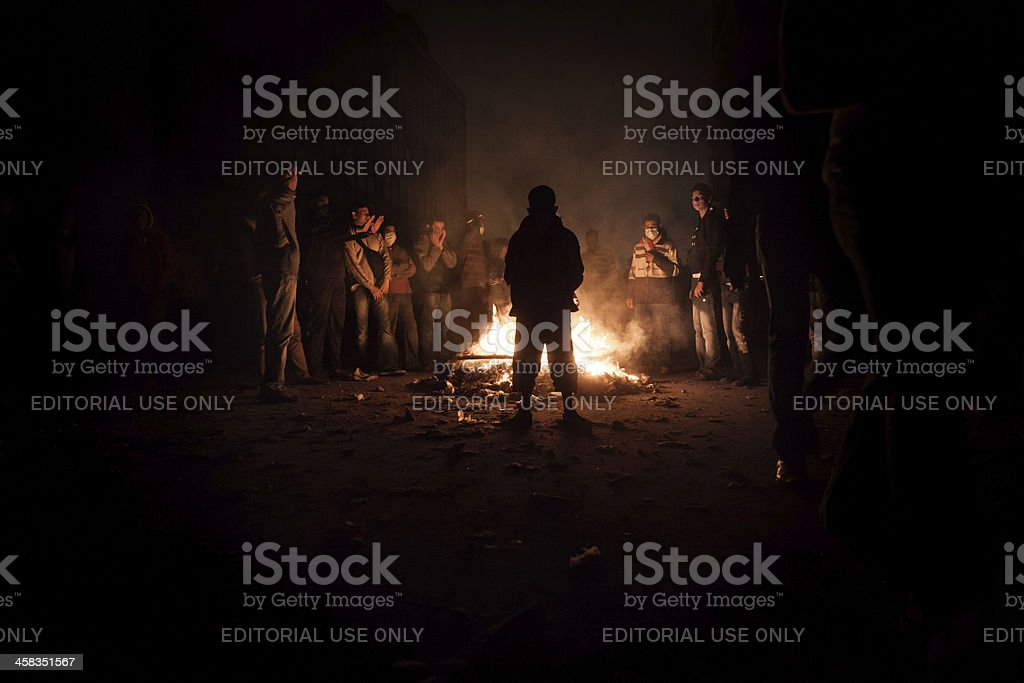 Protestor on Tahrir protest against the military rule in Egypt. stock photo