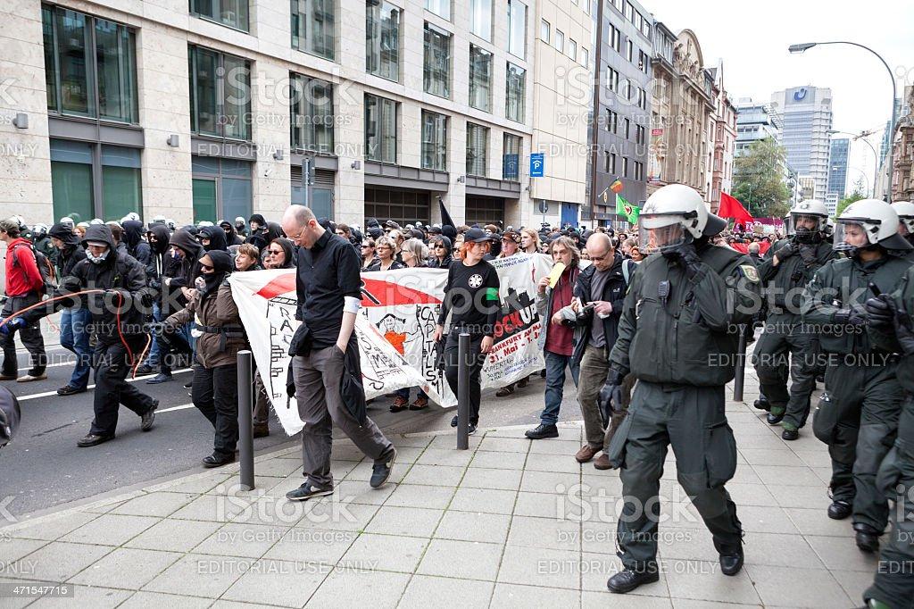 Protestors and police at Blockupy 2013 demonstration, Frankfurt royalty-free stock photo