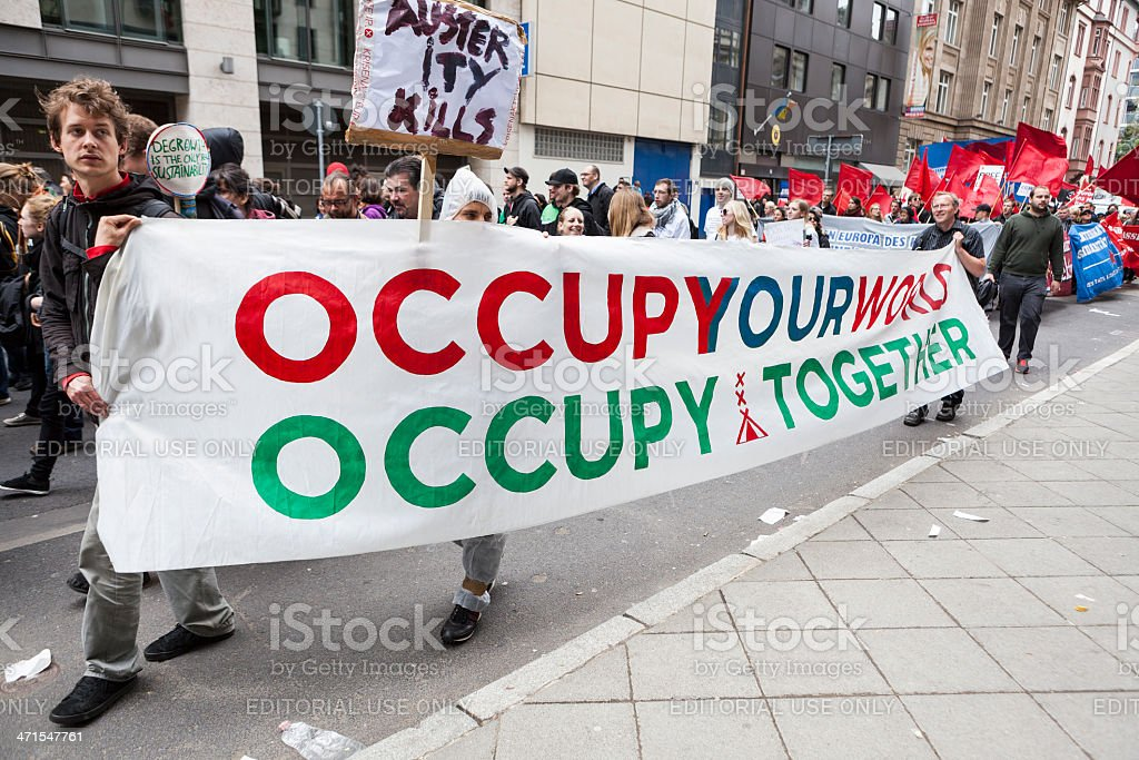 Protestors at Blockupy 2013 demonstration, Frankfurt stock photo