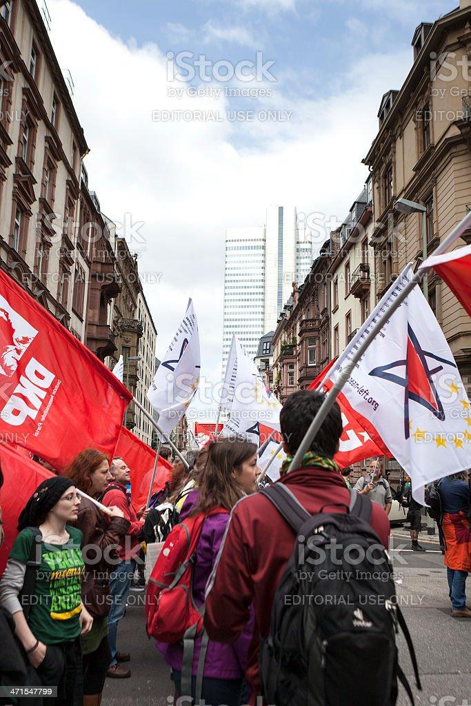 Protestors at Blockupy 2013 demonstration, Frankfurt royalty-free stock photo