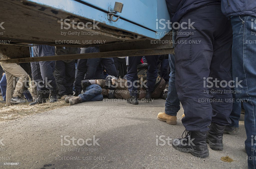 Protestors being detained stock photo