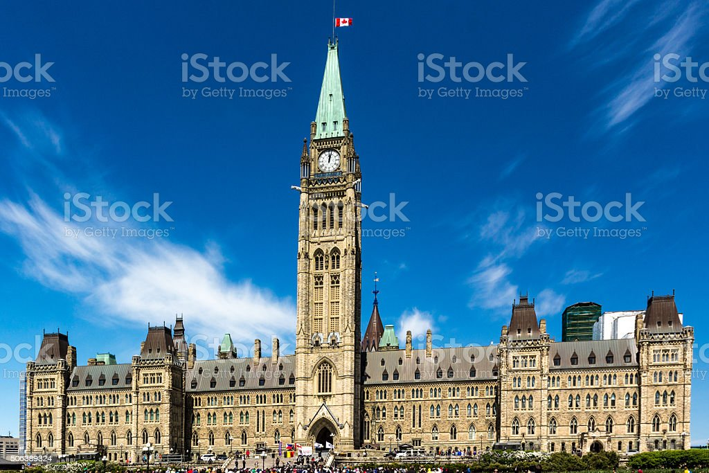 Protestors in front of the Canadian Parliament stock photo