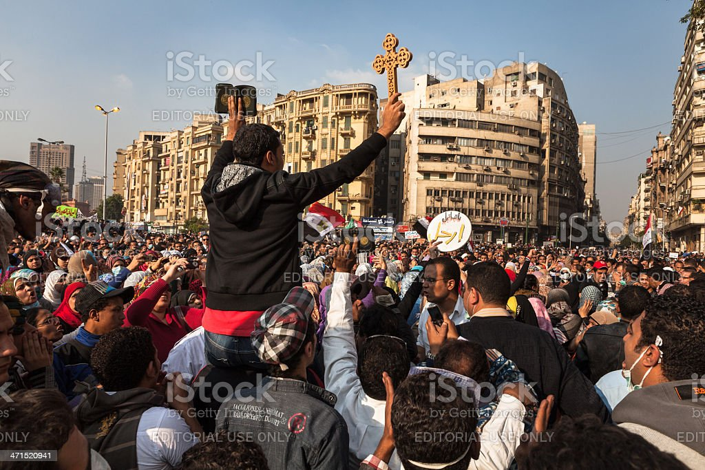 Protestors on Tahrir protest against the military rule in Egypt stock photo