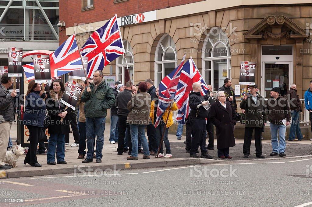 BNP Protestors on the street stock photo