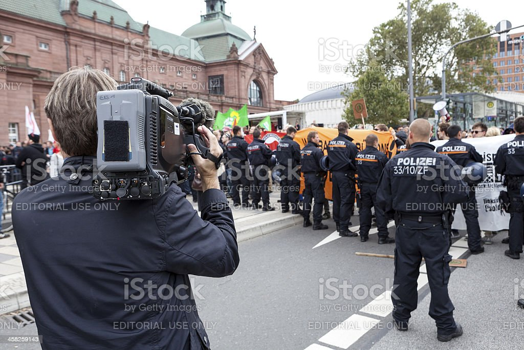 Protests against NPD election campaign stock photo