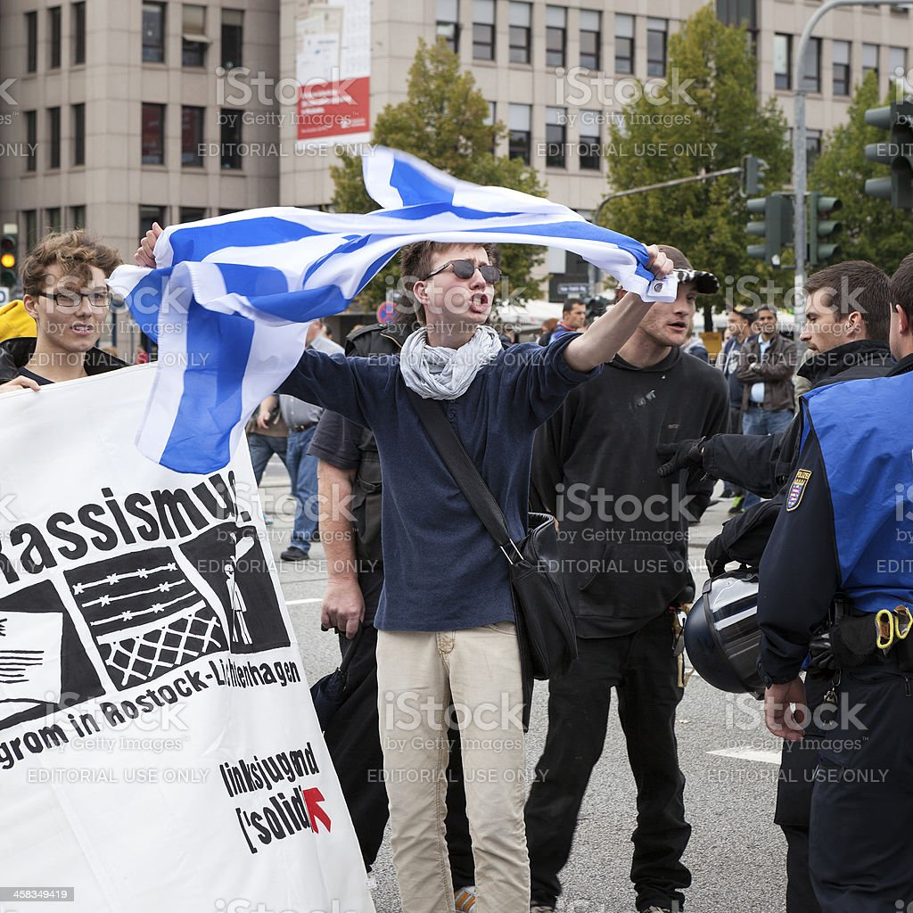 Protests against NPD election campaign royalty-free stock photo