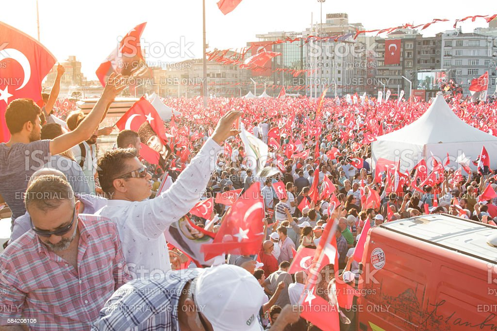 Protests against the military coup , Istanbul-Turkey stock photo