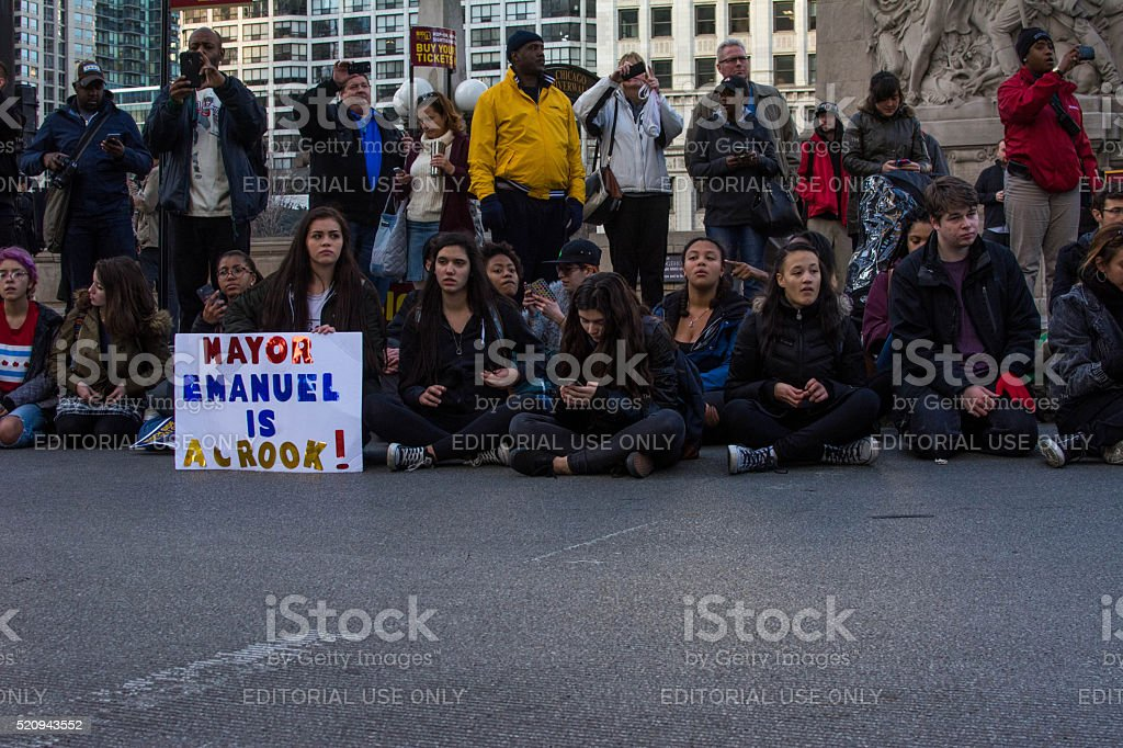 Protests in Chicago stock photo