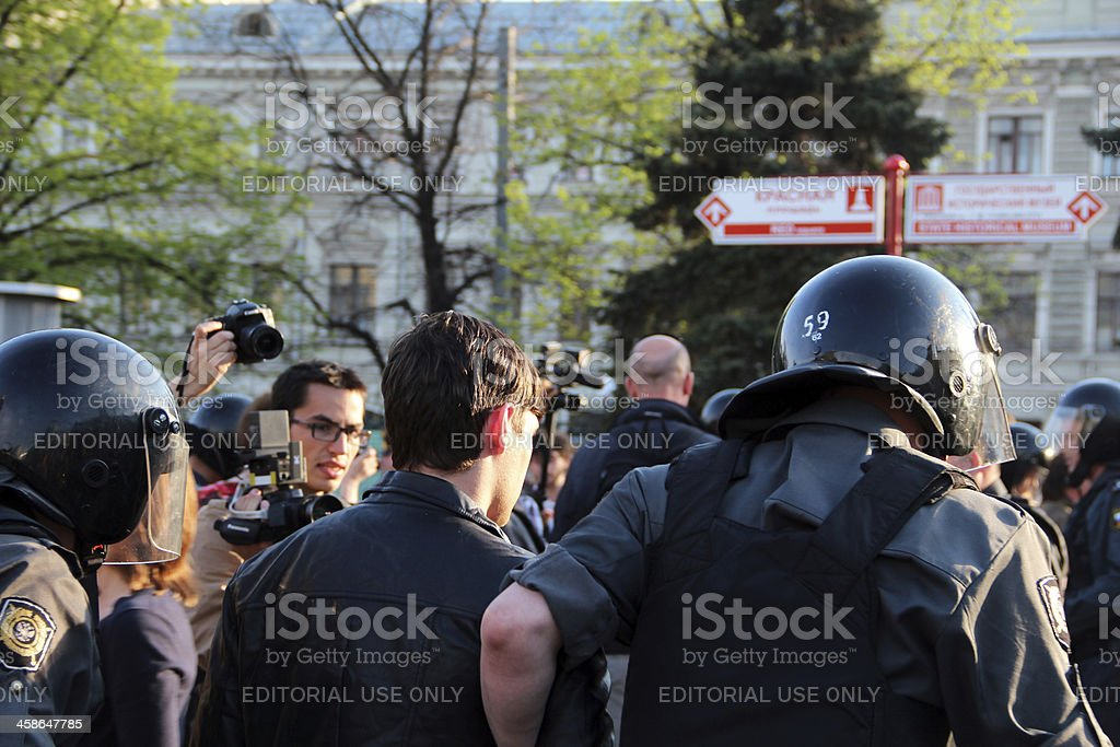 Protests in Moscow stock photo