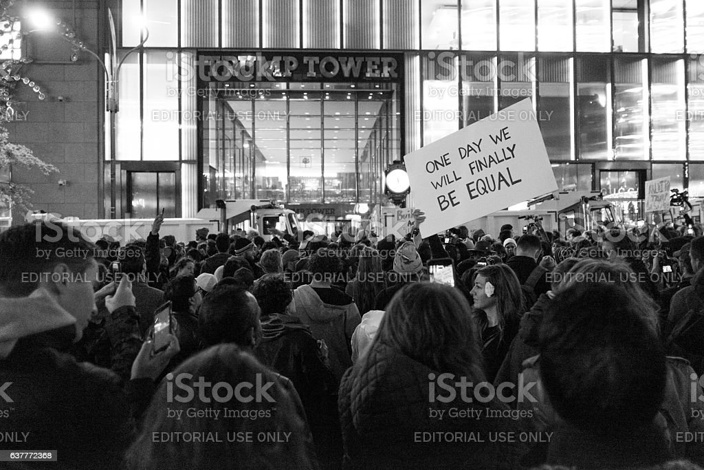 Protests in New York's Trump Tower stock photo