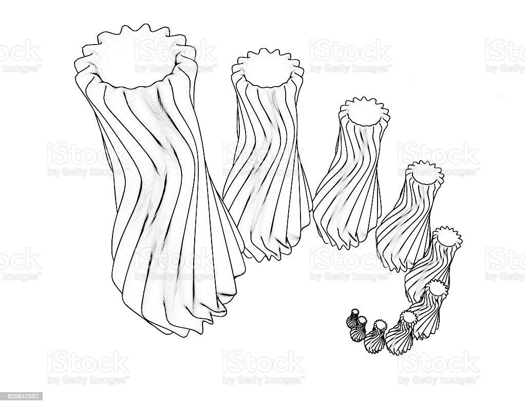 Prototype vase sketch set 3d illustration isolated stock photo