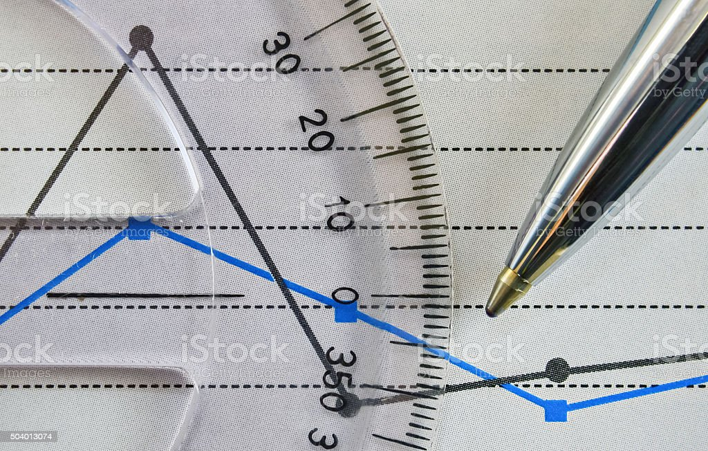 Protractor and chart stock photo