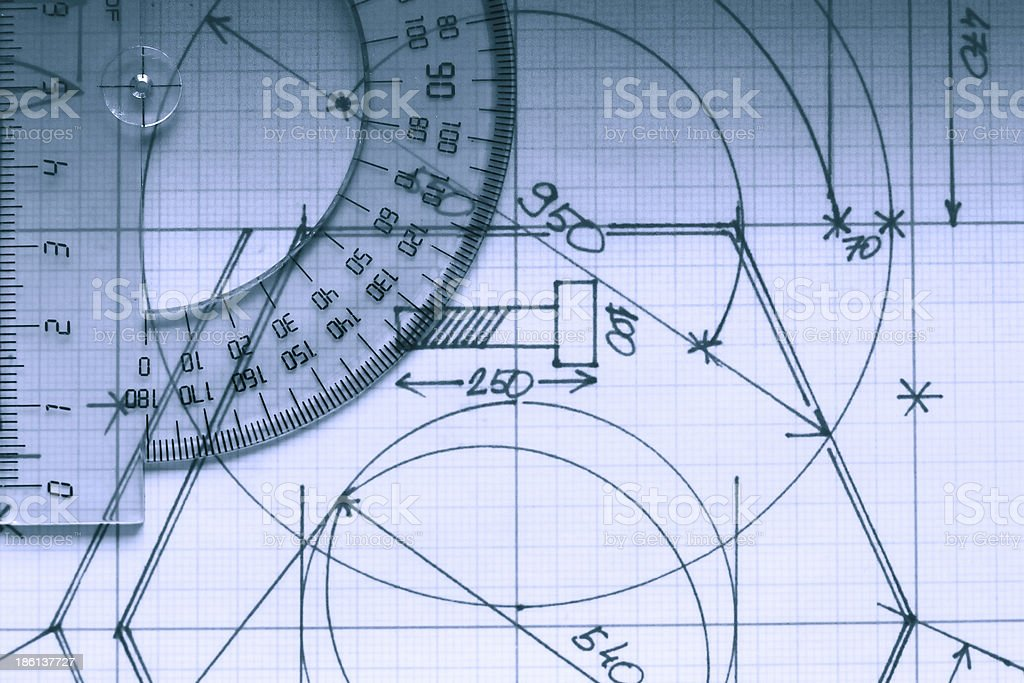 Protractor On Graph royalty-free stock photo