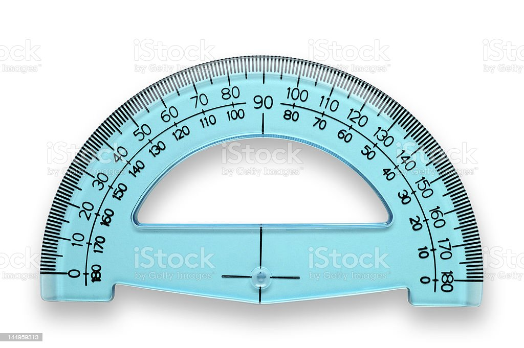 Protractor with clipping path stock photo