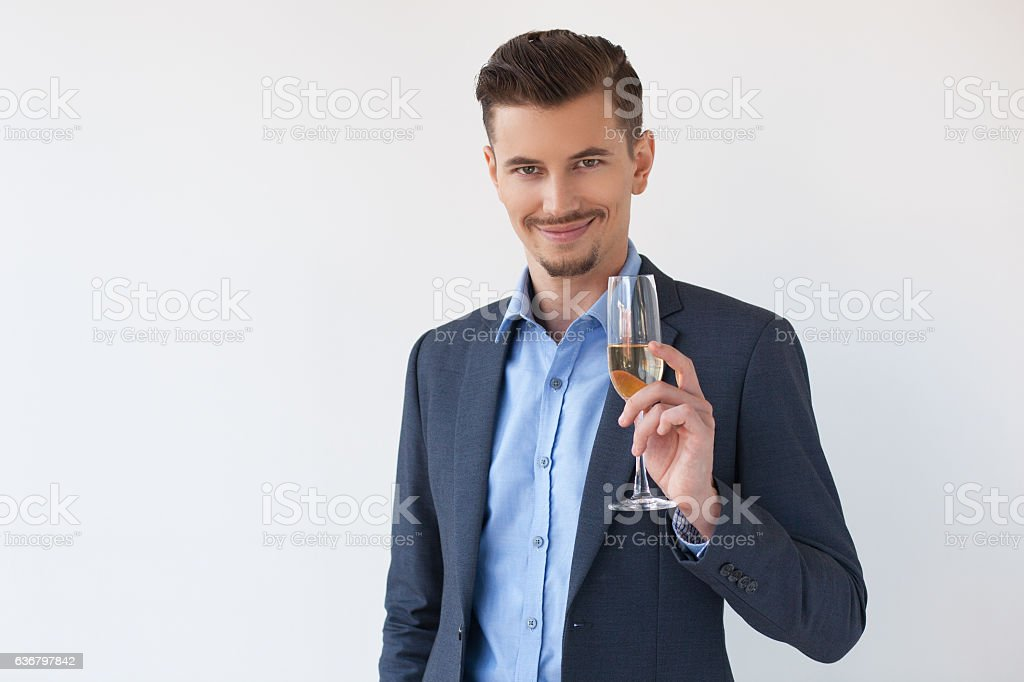 Proud Attractive Entrepreneur with Glass of Wine stock photo