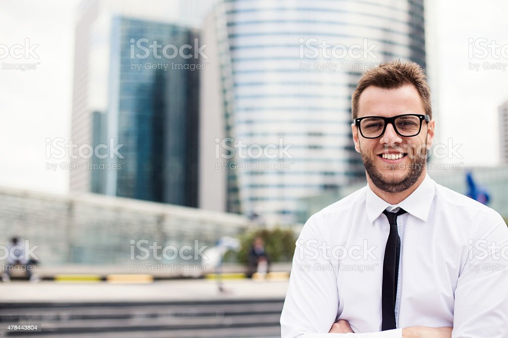 Proud Businessman In Front Of His Office stock photo