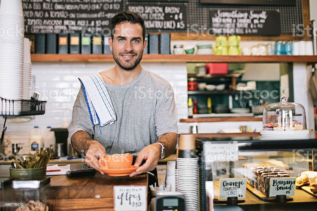 Proud Coffee Shop Owner stock photo