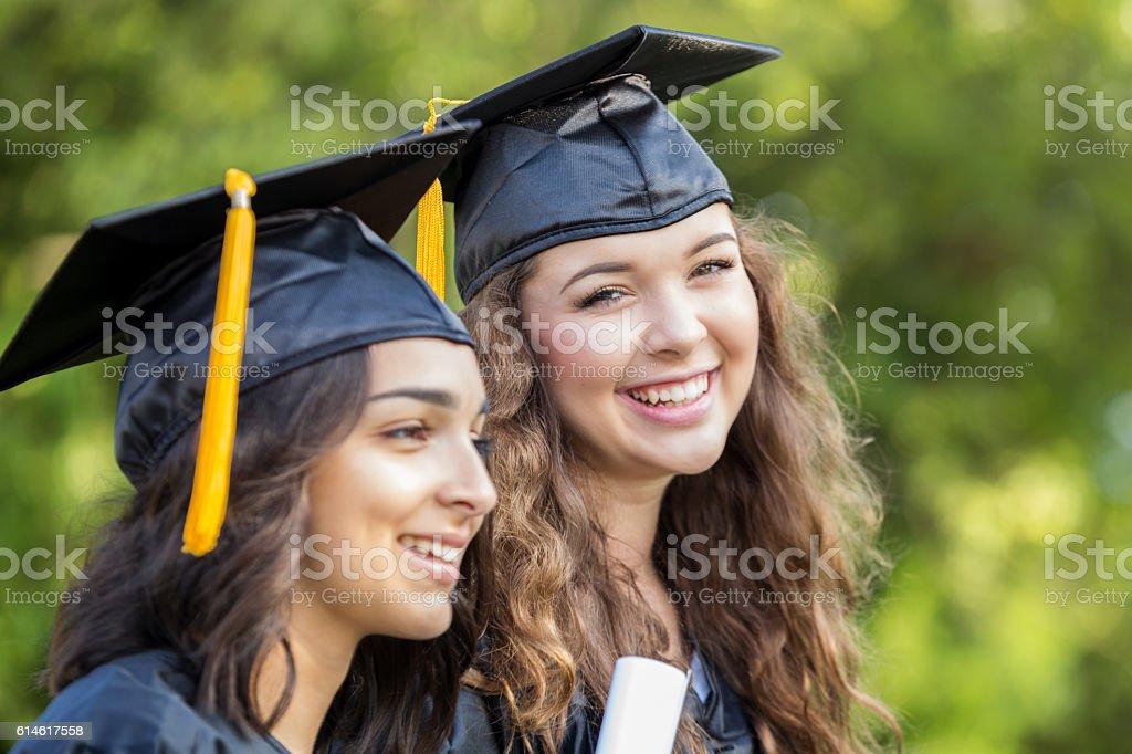 Proud college graduates stock photo