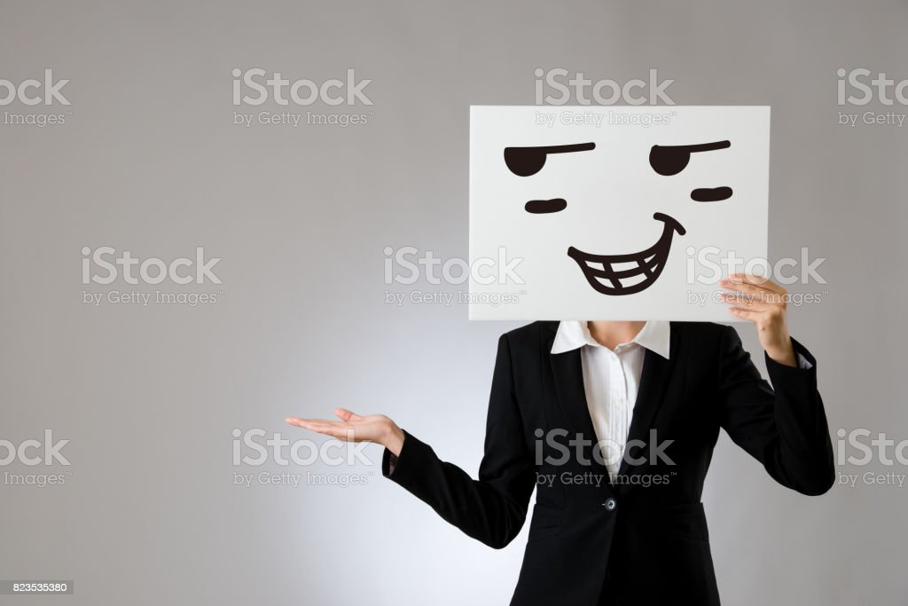 proud drawing face and displaying hand gesture stock photo