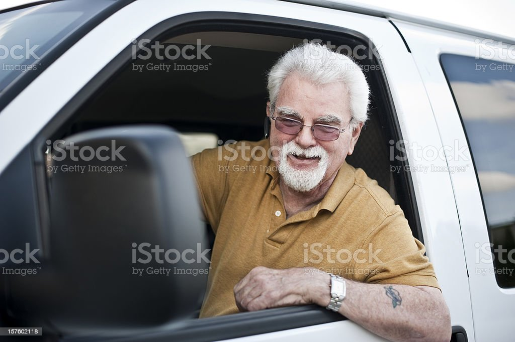 Proud driver stock photo