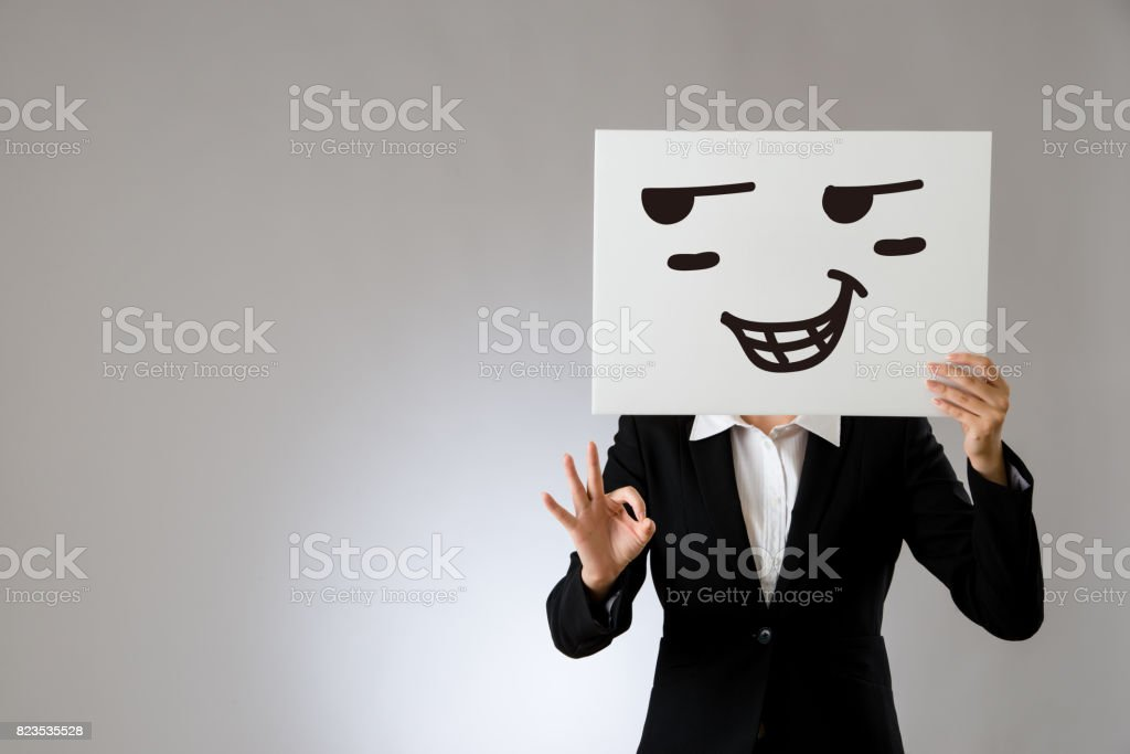 proud expression on blank white billboard stock photo
