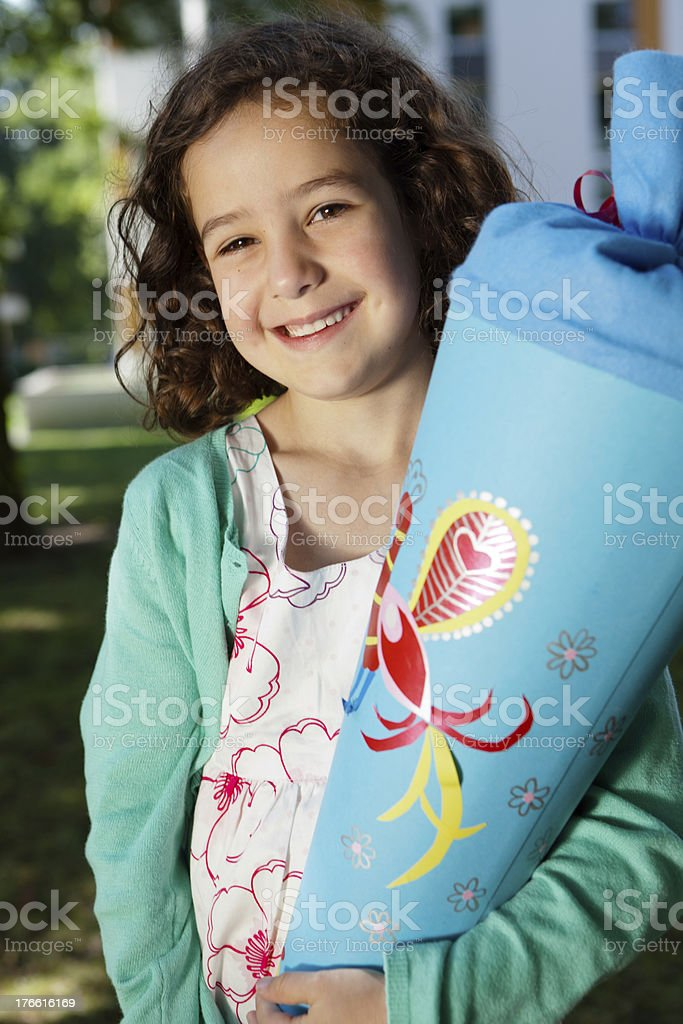 proud first grader with schultüte (or zuckertüte) royalty-free stock photo