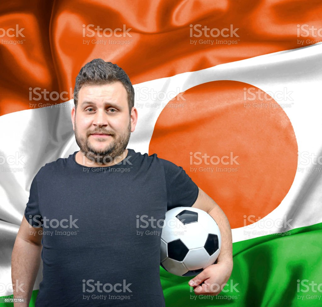 Proud football fan of Niger stock photo