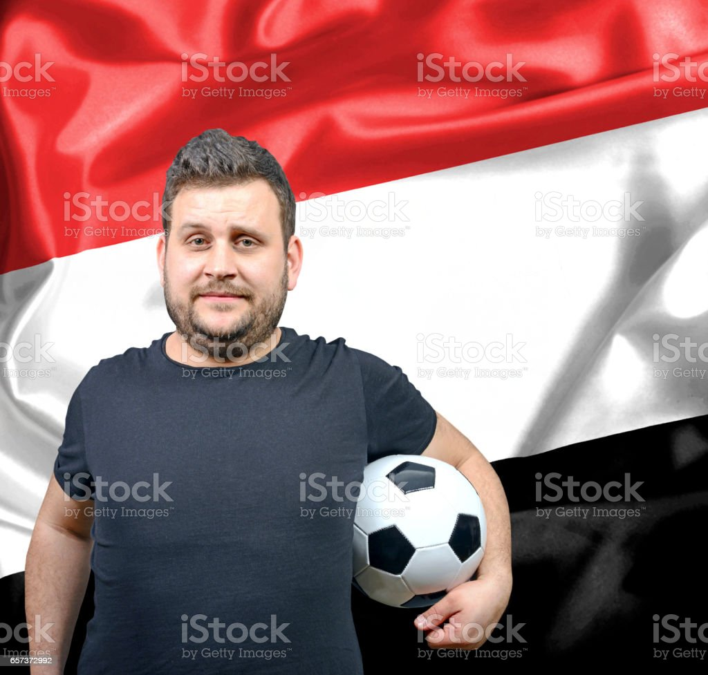Proud football fan of Yemen stock photo
