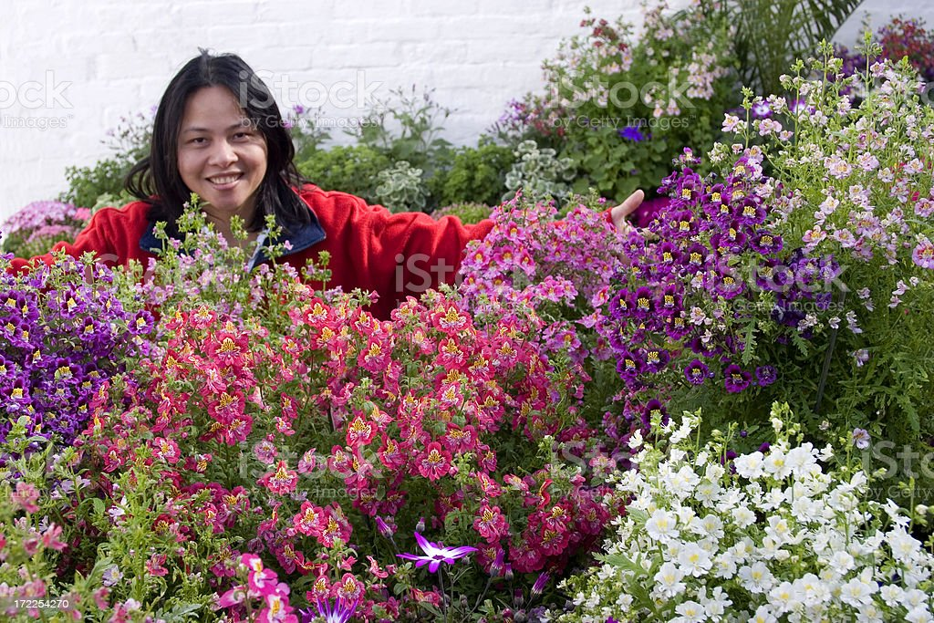 Proud gardener with flowers royalty-free stock photo