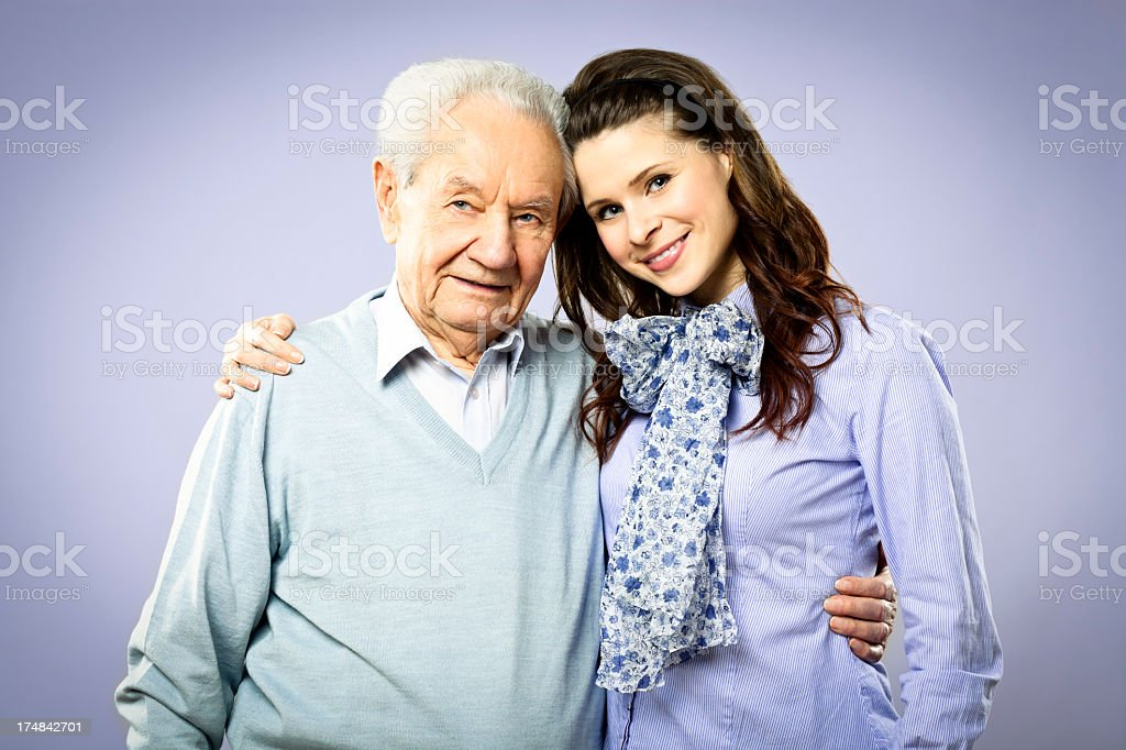 Proud grandfather with her granddaughter royalty-free stock photo