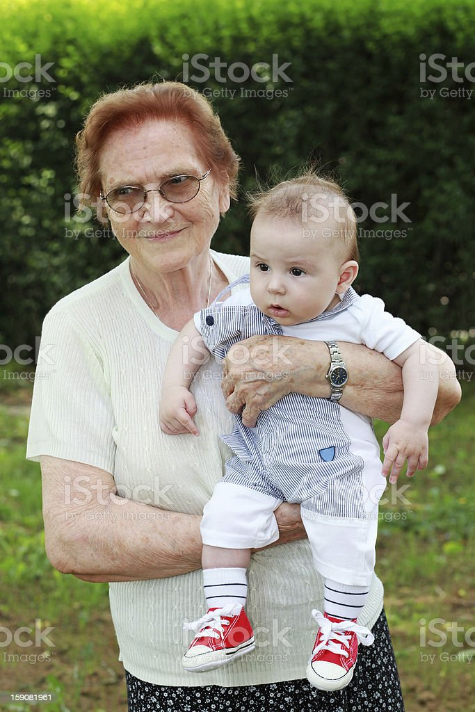Proud great grandmother stock photo