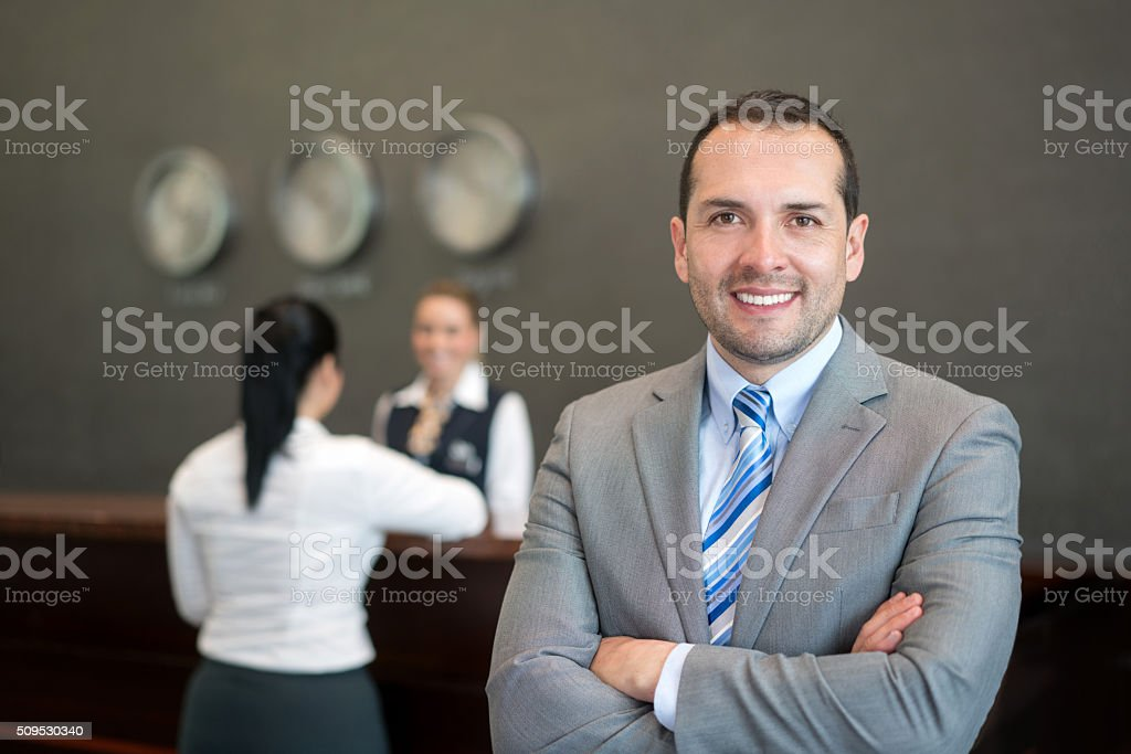 Proud hotel manager stock photo