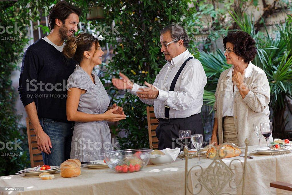 Proud Italian son introduces his fiance  parents stock photo