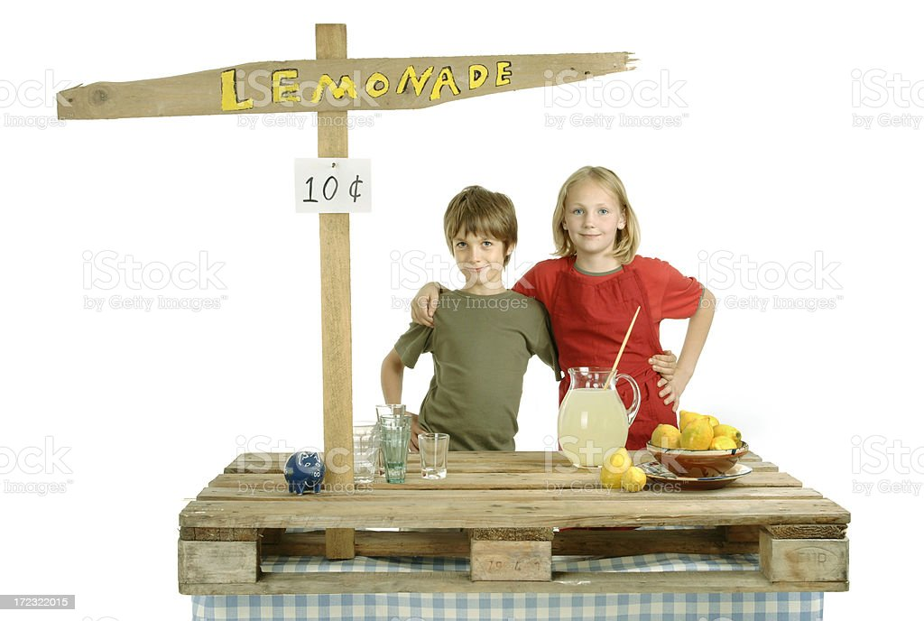 Proud Lemonade Stand Owners royalty-free stock photo