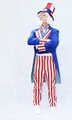 Proud looking Uncle Sam on a white background