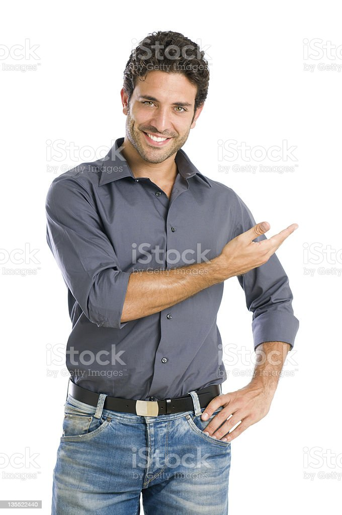 Proud man display your text stock photo