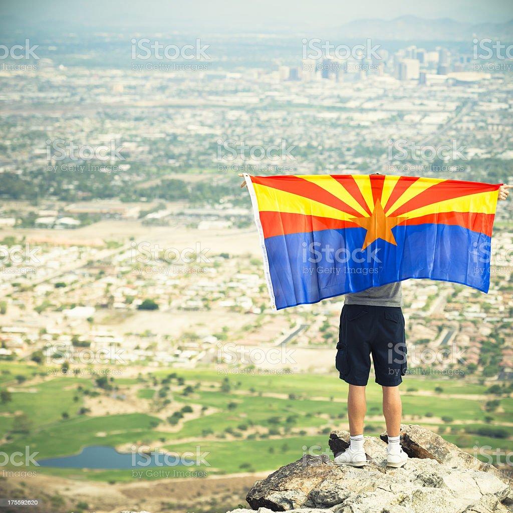 Proud man of Arizona country on Phoenix city stock photo
