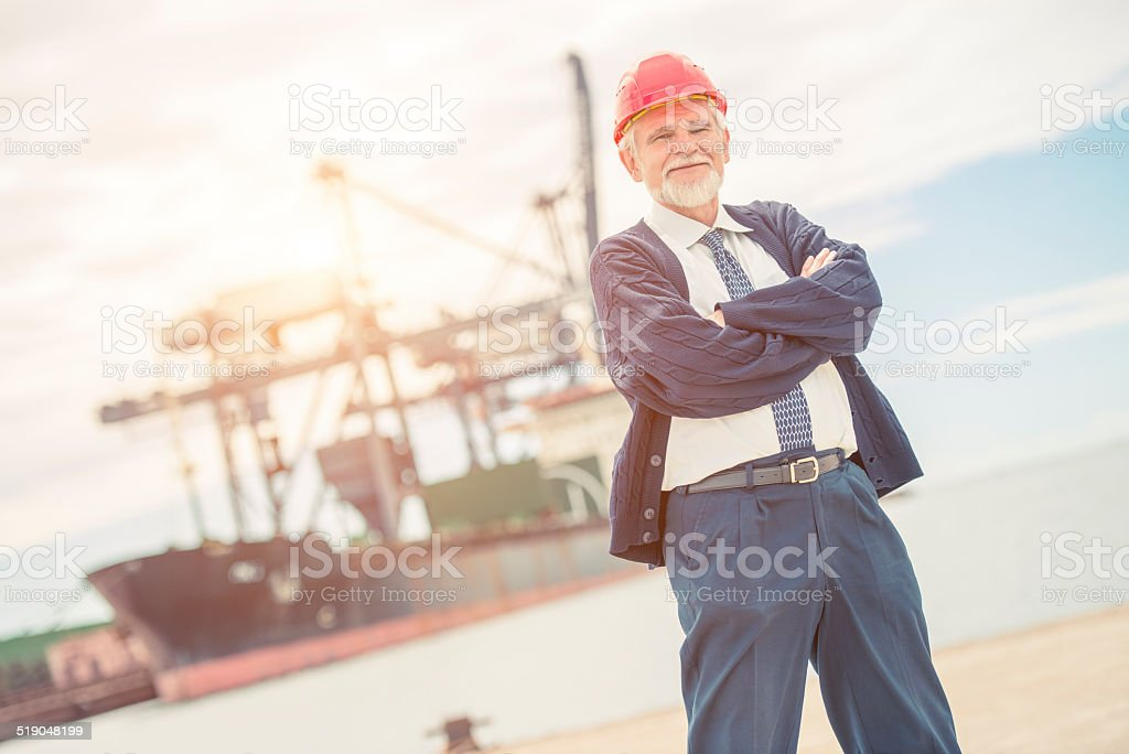 Proud manager at the dock stock photo