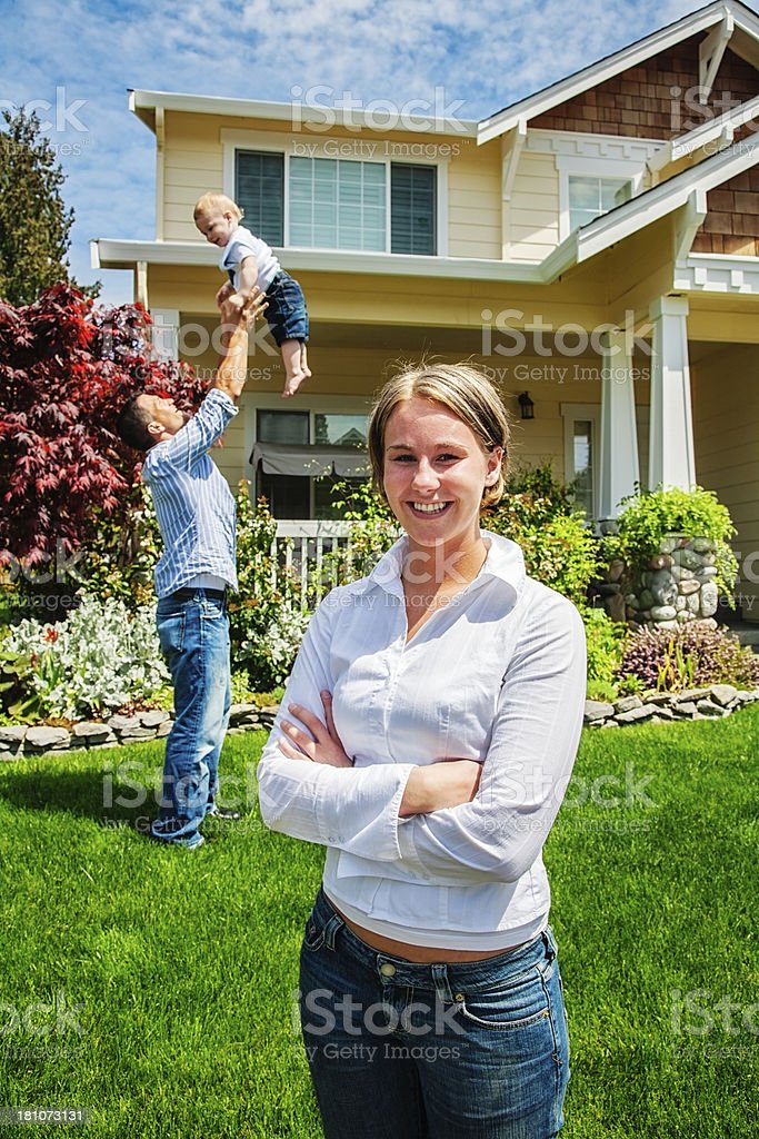 Proud Mother at Home with Family royalty-free stock photo